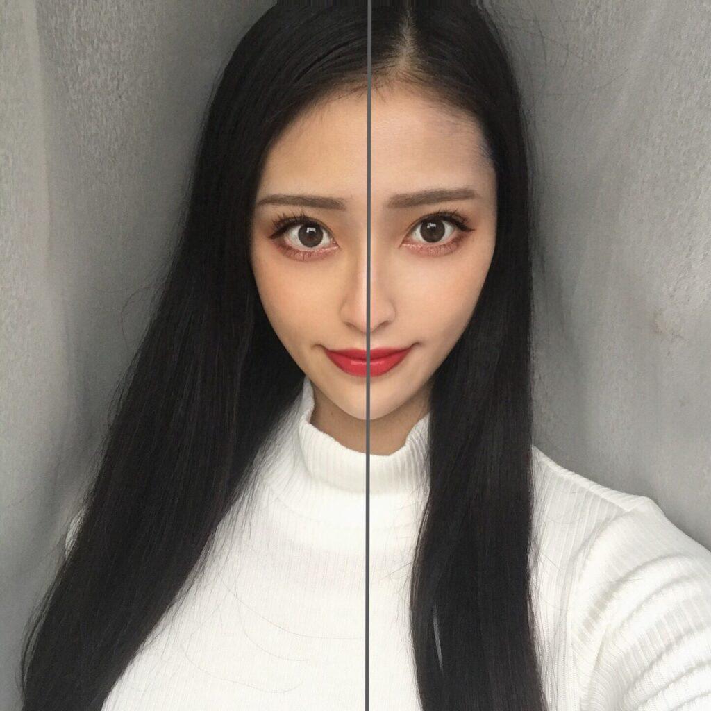 インフルエンサーが、無印良品 UVベースコントロールカラーを、顔の向かって左半分に塗った写真