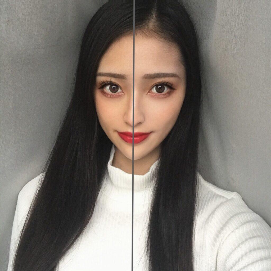 インフルエンサーが、エチュードハウス フィックス&フィックス トーンアッププライマーを、顔の向かって左半分に塗った写真