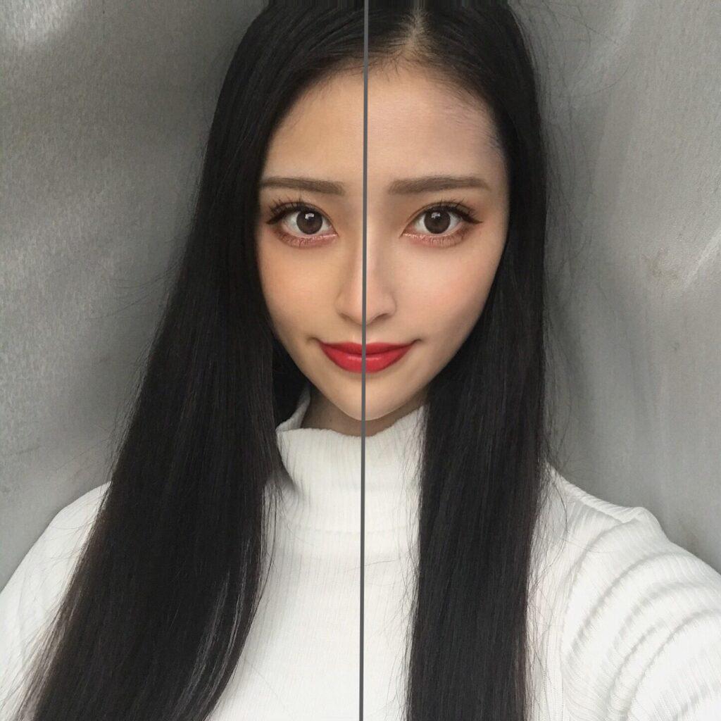 インフルエンサーが、ケイト スキンカラーコントロールベース を、顔の向かって左半分に塗った写真