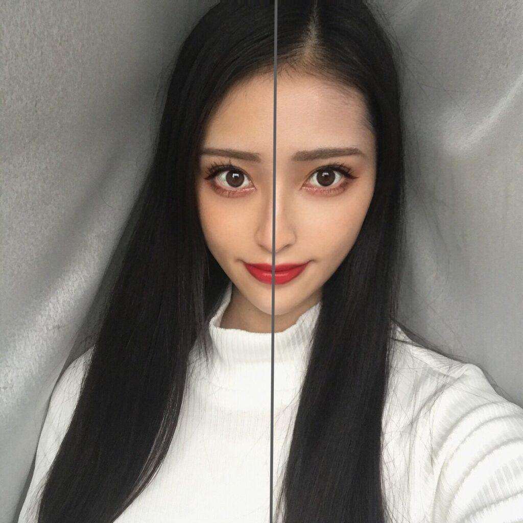 インフルエンサーがフーミー コントロールカラーベースを、顔の向かって左半分に塗った写真