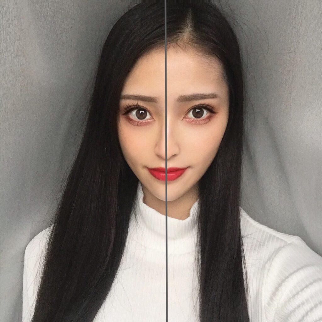 インフルエンサーが、セザンヌ UVウルトラフィットベースNを、顔の向かって左半分に塗った写真