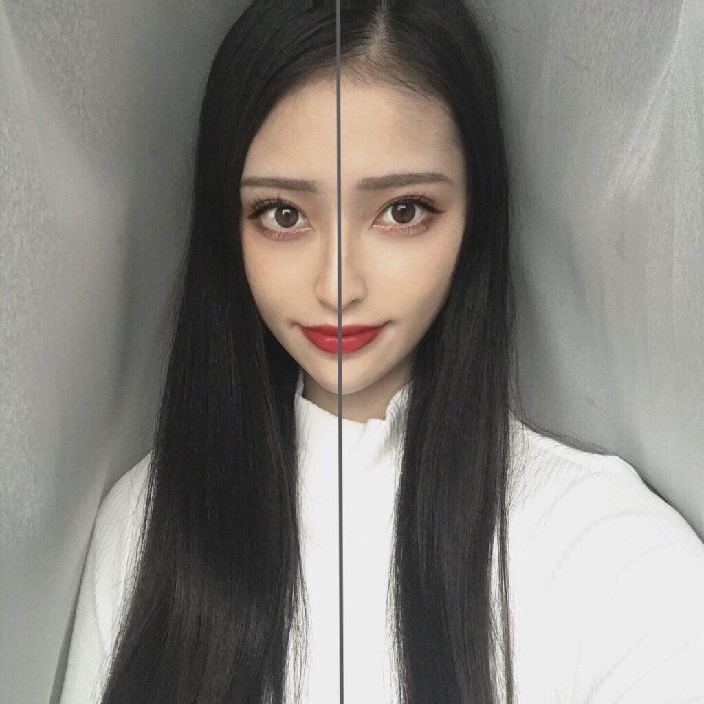 インフルエンサーが、イプサ コントロールベイスを、顔の向かって左半分に塗った写真