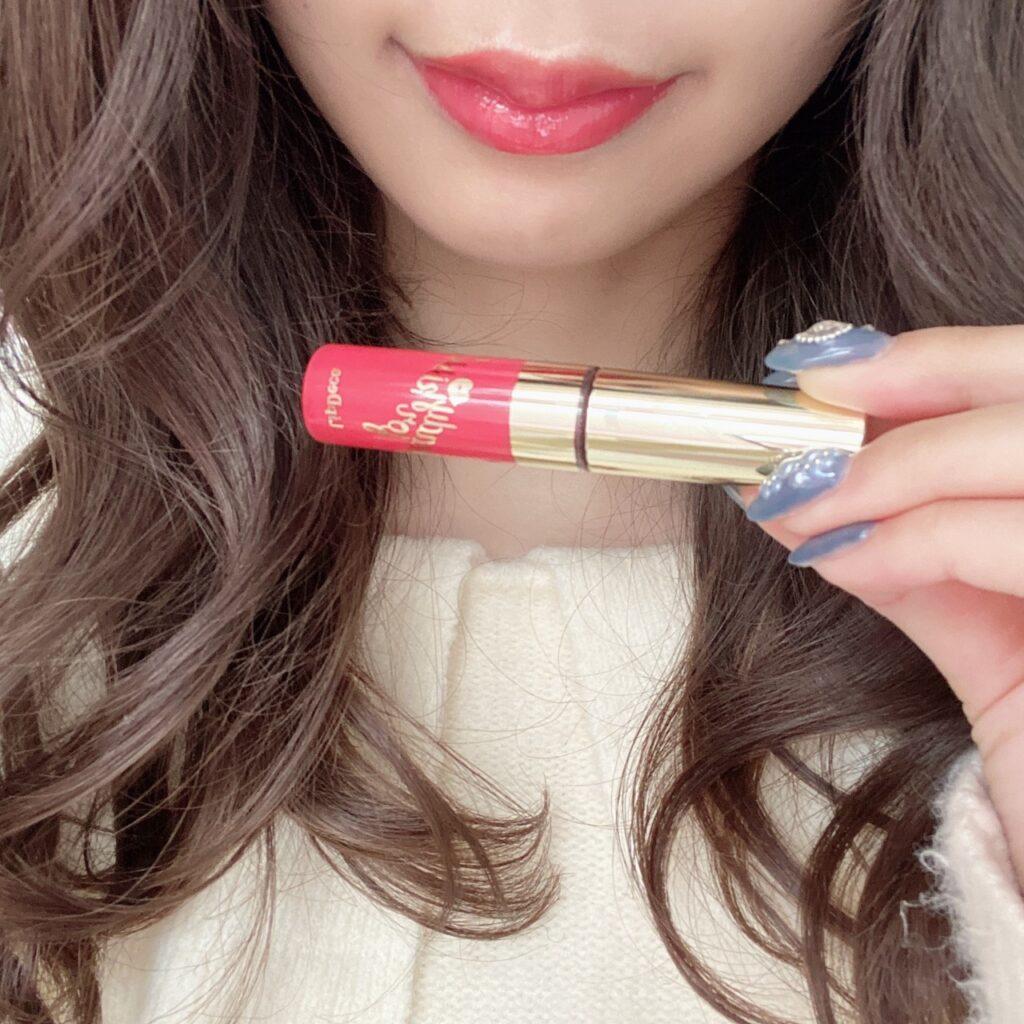 インフルエンサーのazusaさんがジルスチュアート ティントインドリームとリップデコ プランパーティントグロスを使用した際の口元の写真