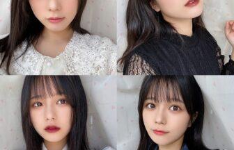 インフルエンサーがちふれの口紅を塗った4種の顔写真のコラージュ画像