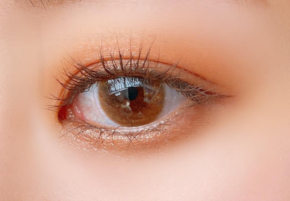 クリオ プロアイパレット(02ブラウンシュー)を使用した目元写真(目を開いた状態)