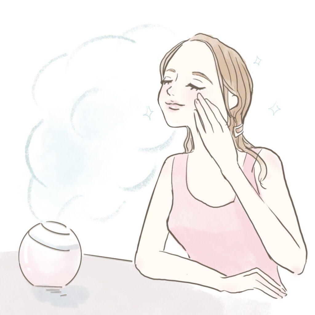 部屋を加湿して、肌に潤いをもたらす女性のイラスト