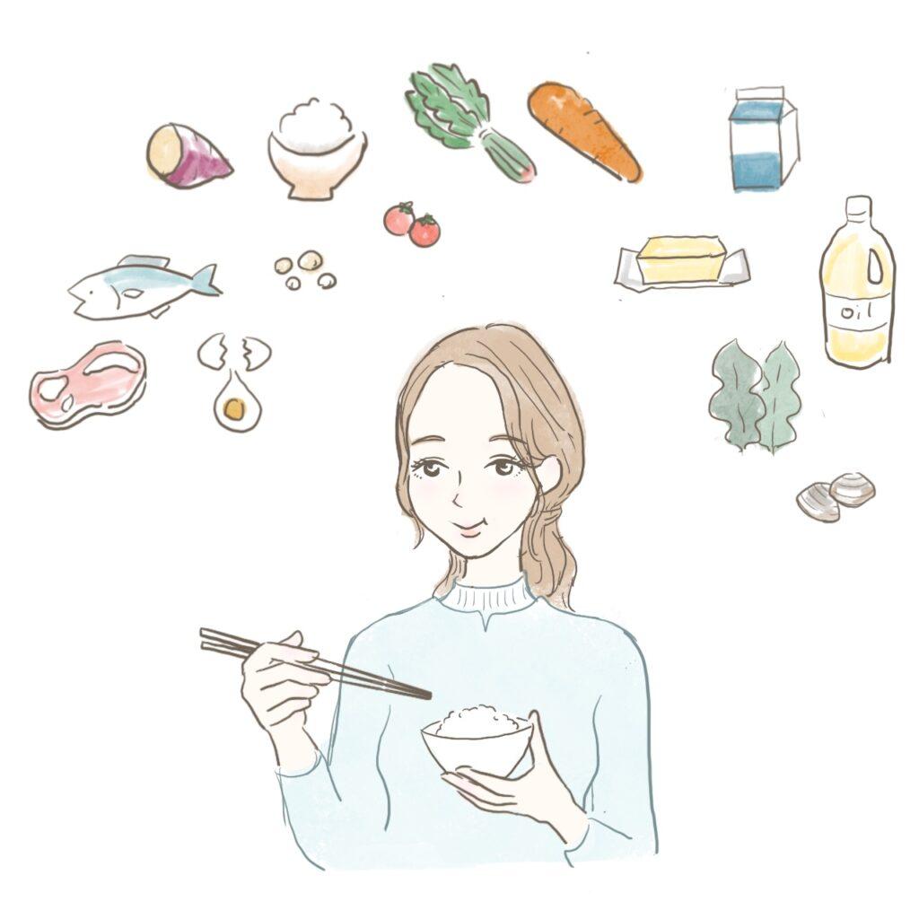 栄養バランスよく食事をする女性のイラスト