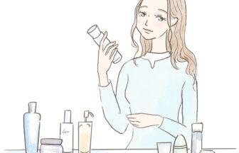 自分自身に合うスキンケア用品を選ぶ女性のイラスト