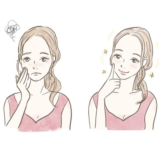 肌荒れに悩む女性のビフォーアフターのイラスト