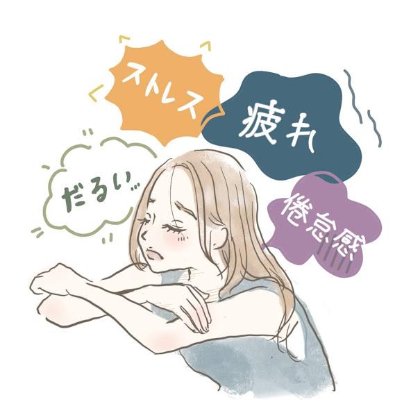 様々なストレスが降りかかる女性のイラスト