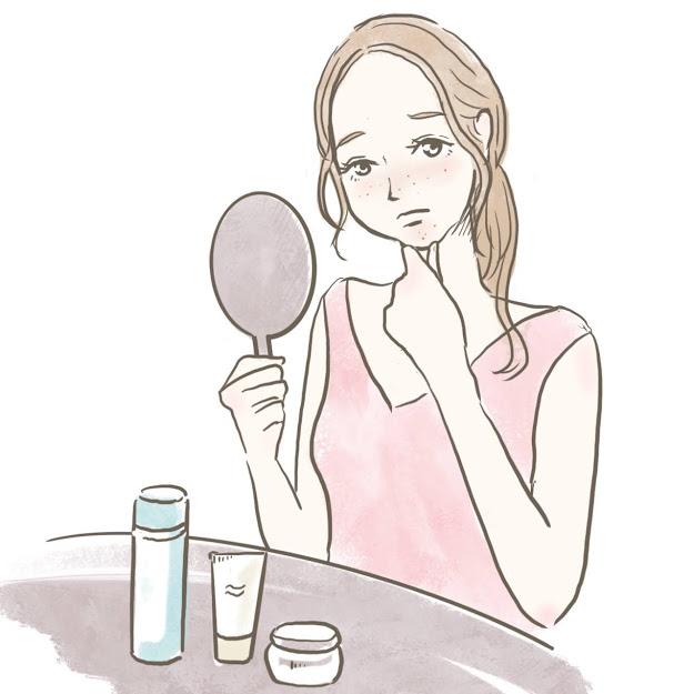鏡で自分の肌荒れを見つめて思い悩む女性のイラスト