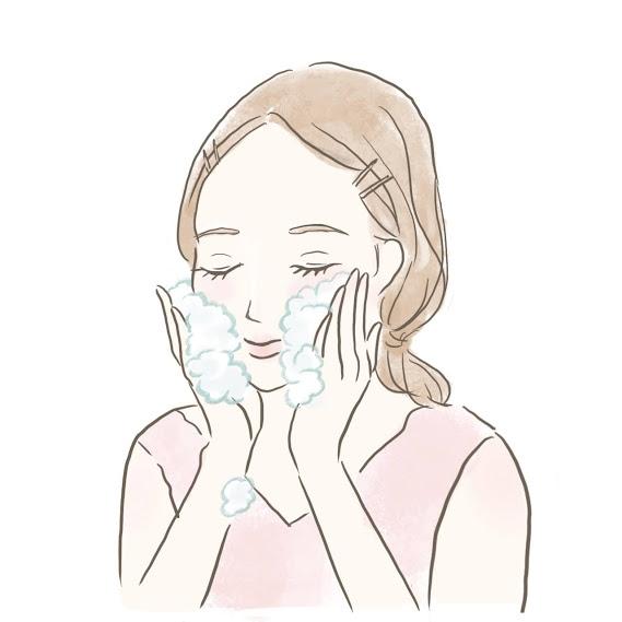 丁寧に洗顔をする女性のイラスト