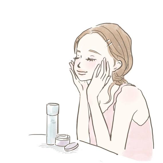 スキンケア用品で丁寧にケアする女性のイラスト