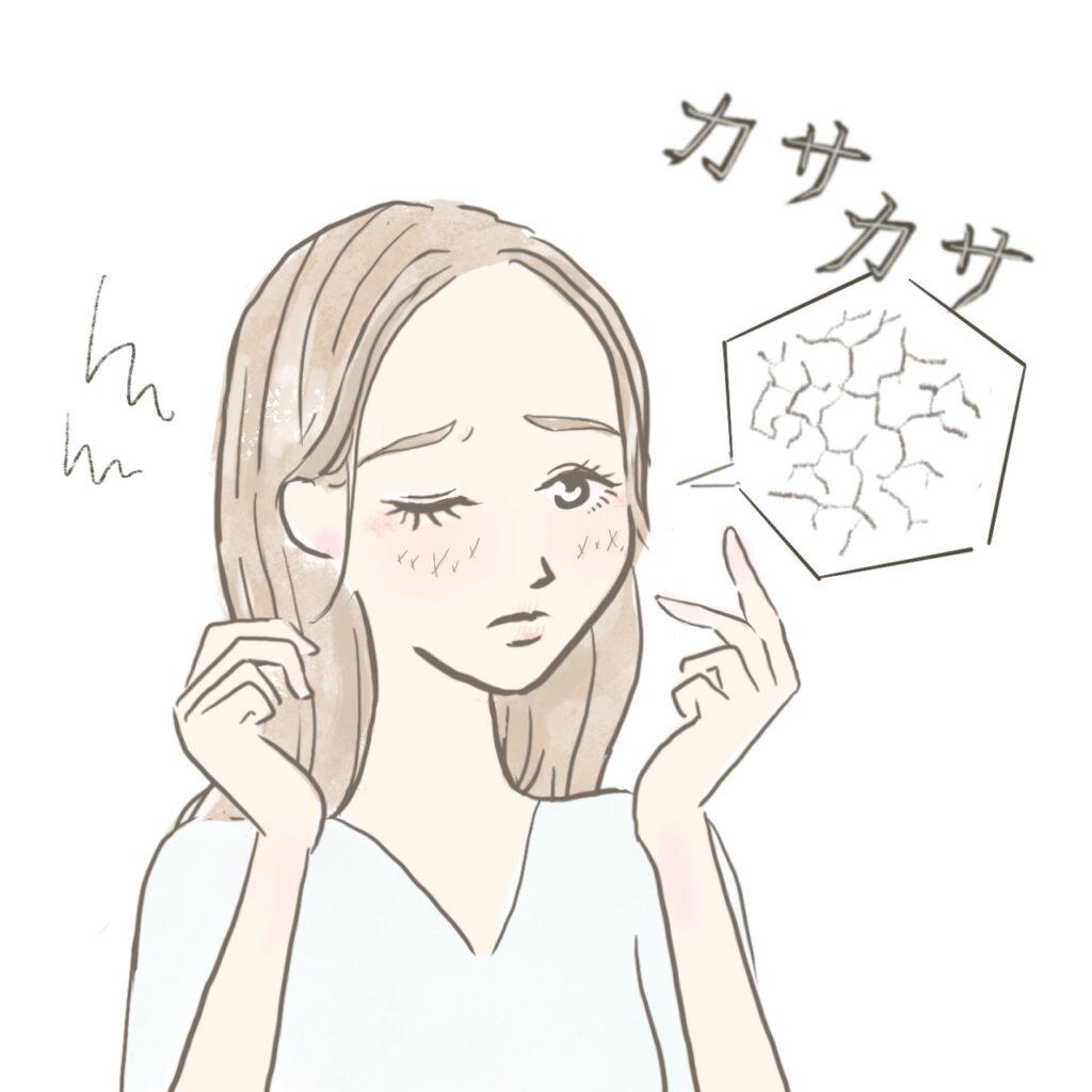 肌の乾燥に悩む女性のイラスト