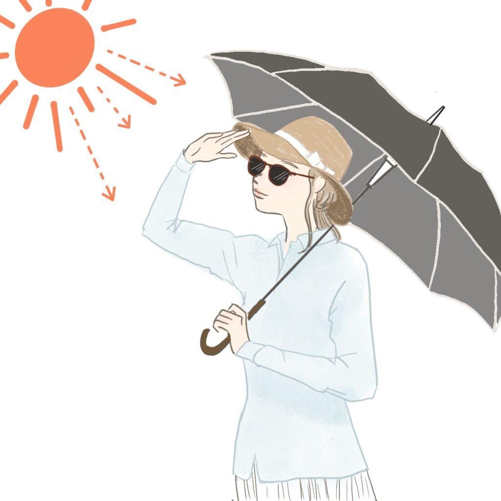 日傘と長袖で紫外線対策に励む女性のイラスト