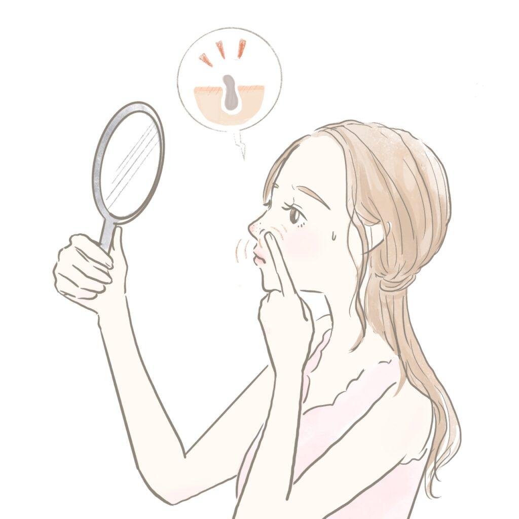 毛穴の角栓を押しだしてしまう女性のイラスト