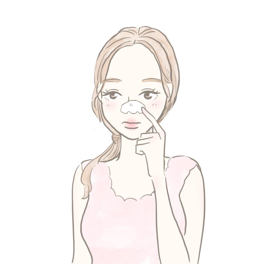 毛穴パックをしてしまう女性のイラスト