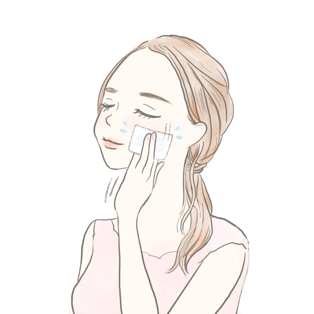 拭き取り化粧水で肌のケアをする女性のイラスト