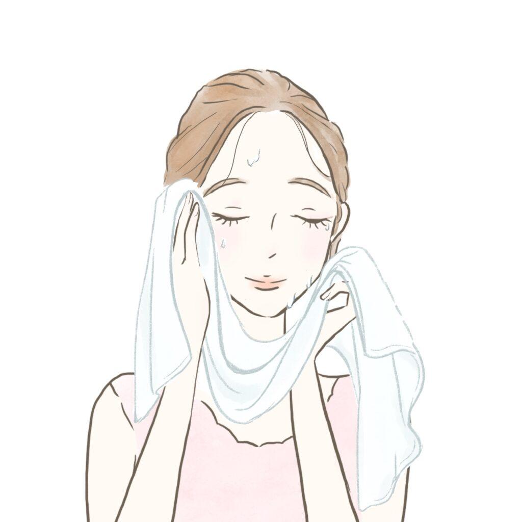 しっかり水滴を拭く女性のイラスト